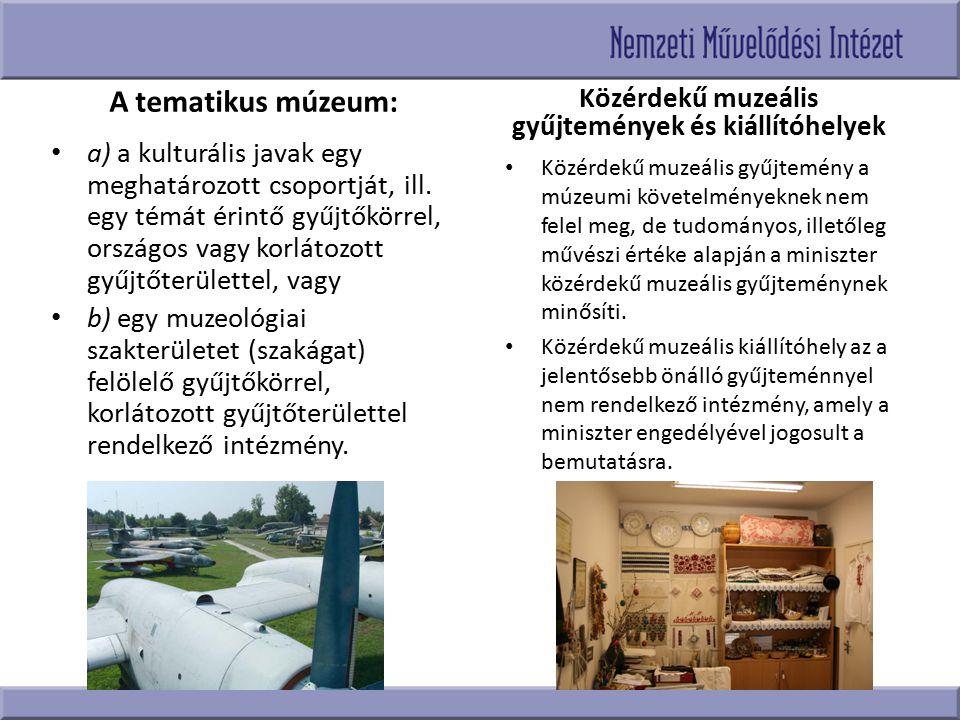 Közérdekű muzeális gyűjtemények és kiállítóhelyek