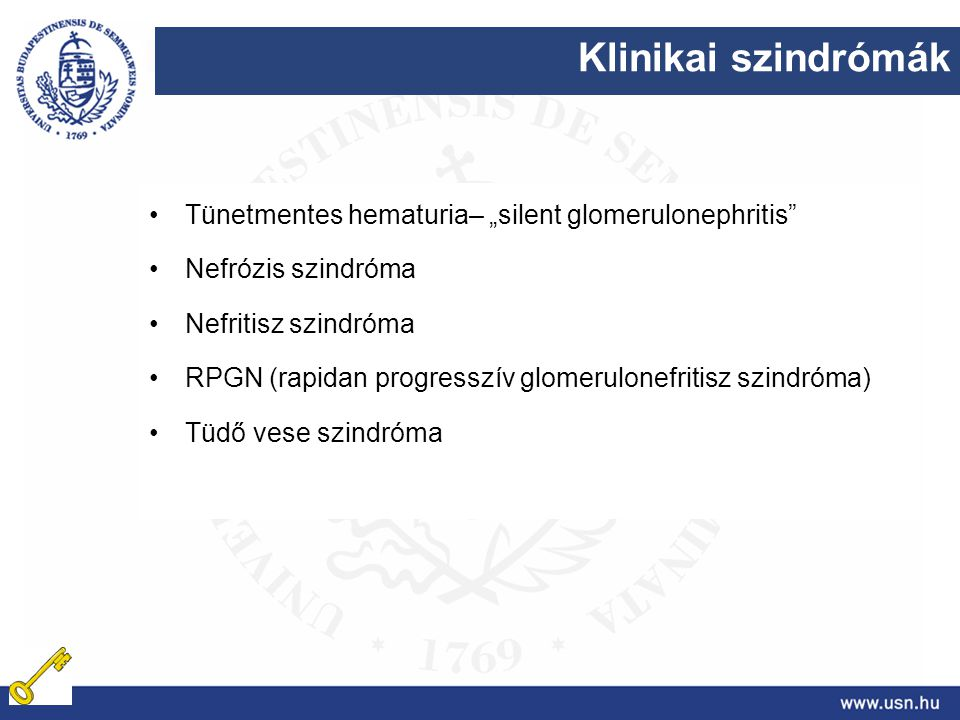 "Klinikai szindrómák Tünetmentes hematuria– ""silent glomerulonephritis"