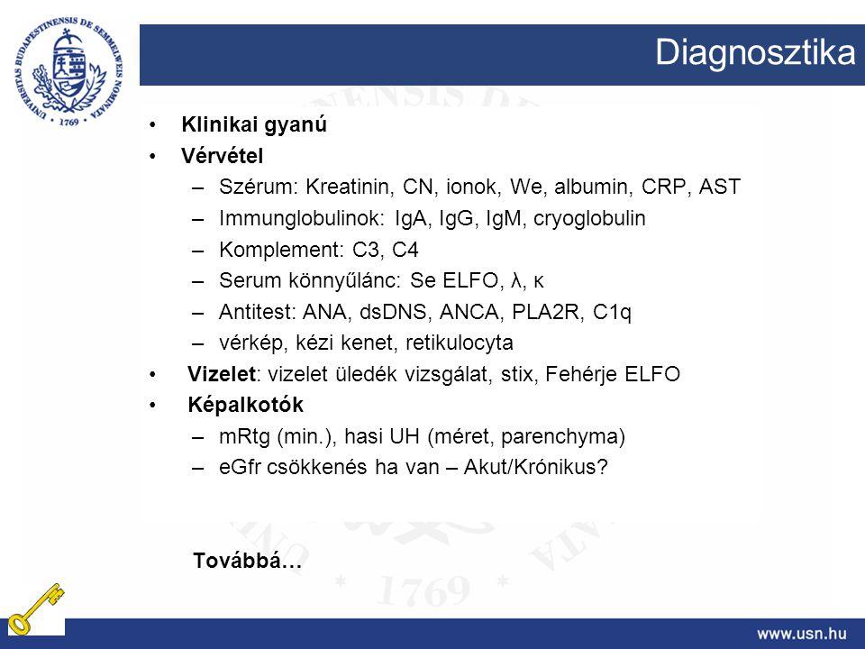Diagnosztika Klinikai gyanú Vérvétel