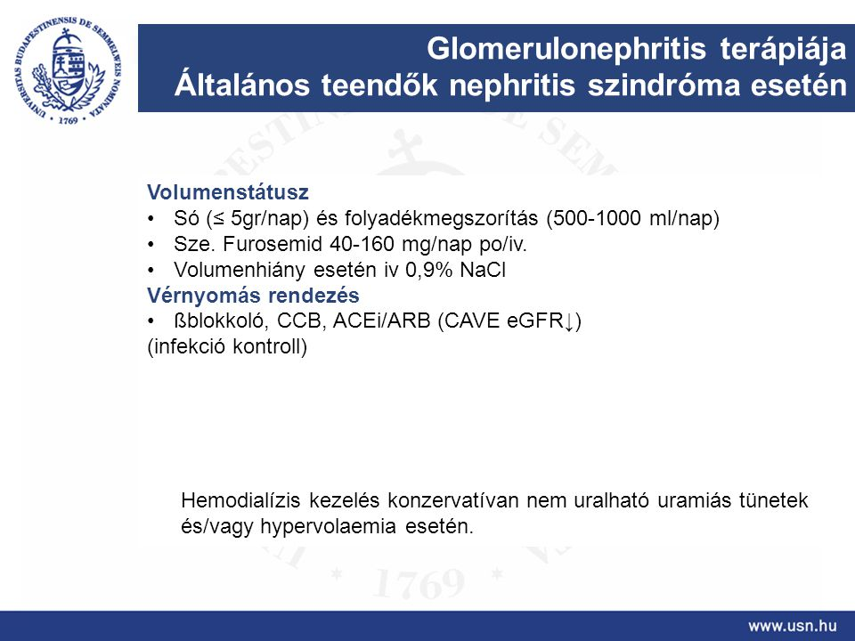 Glomerulonephritis terápiája