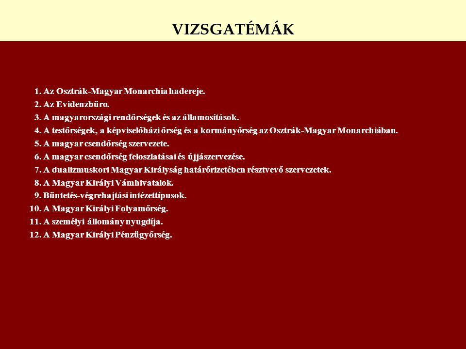 VIZSGATÉMÁK 1. Az Osztrák-Magyar Monarchia hadereje.