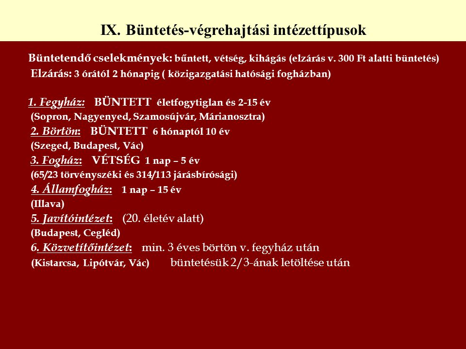 IX. Büntetés-végrehajtási intézettípusok