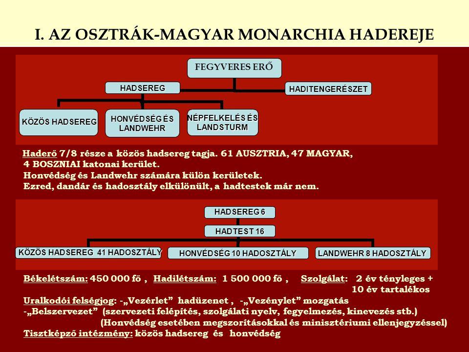 I. AZ OSZTRÁK-MAGYAR MONARCHIA HADEREJE