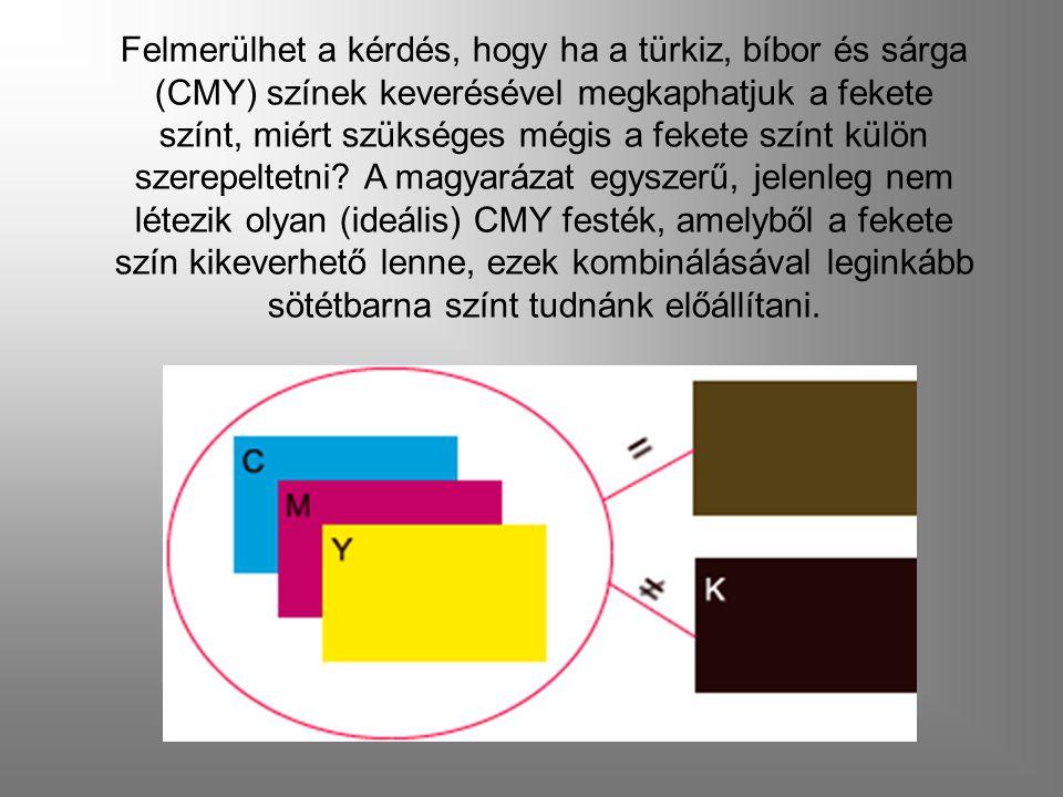Felmerülhet a kérdés, hogy ha a türkiz, bíbor és sárga (CMY) színek keverésével megkaphatjuk a fekete színt, miért szükséges mégis a fekete színt külön szerepeltetni.