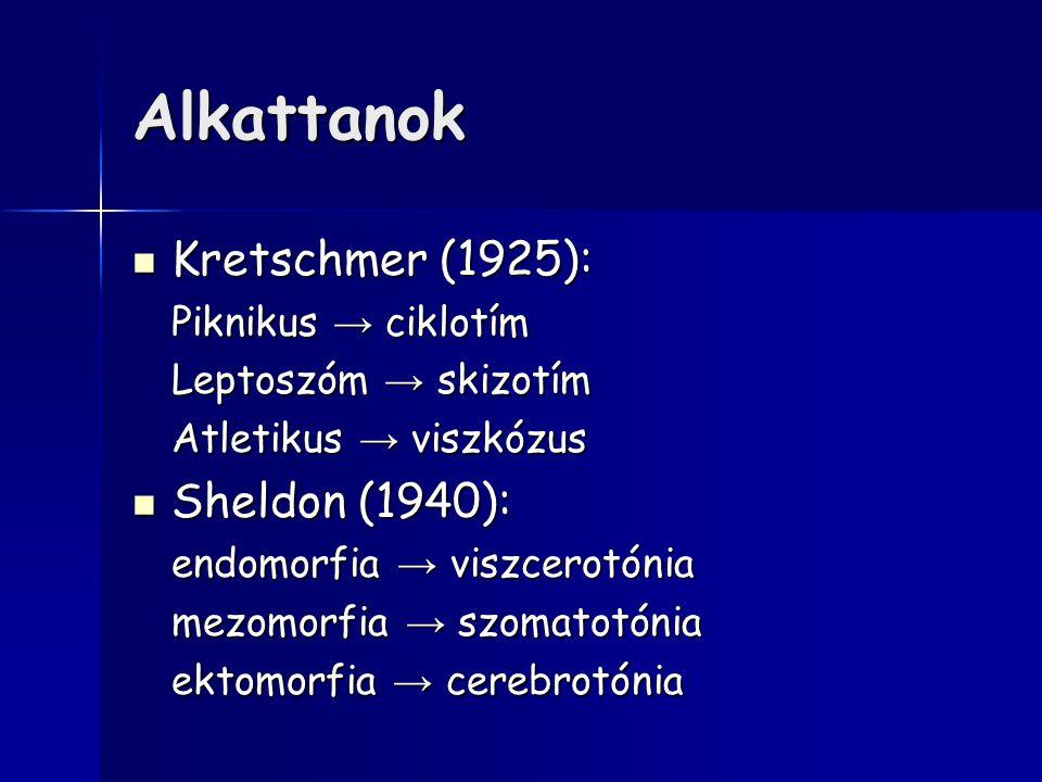 Alkattanok Kretschmer (1925): Sheldon (1940): Piknikus → ciklotím