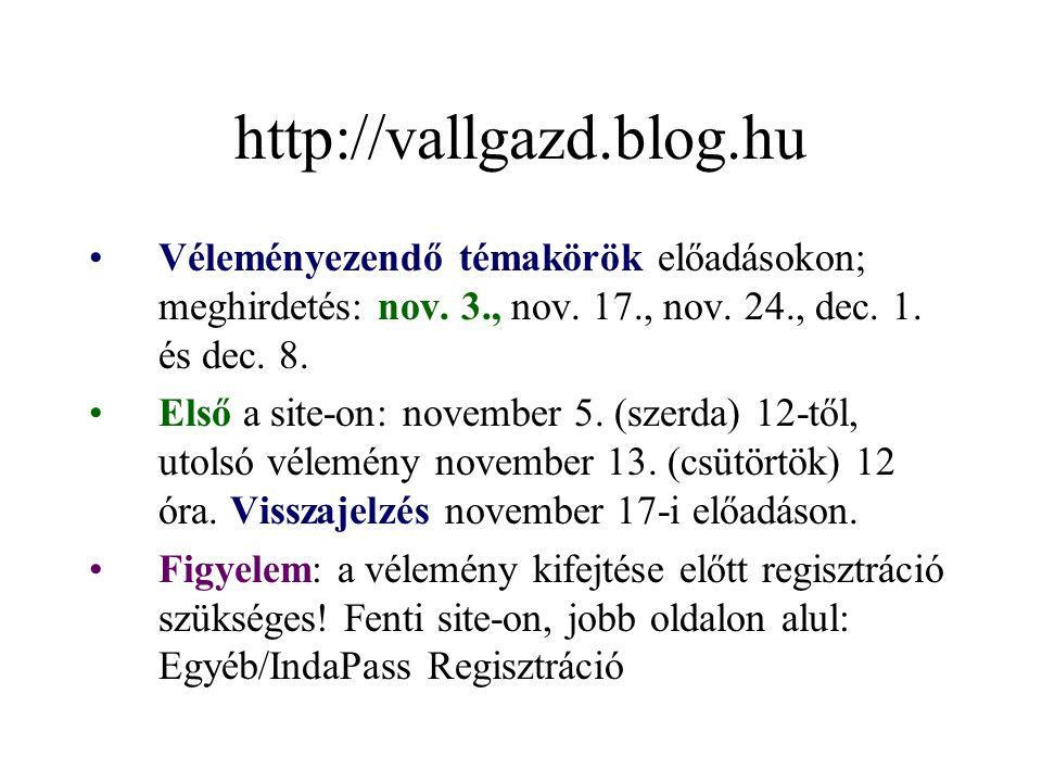 http://vallgazd.blog.hu Véleményezendő témakörök előadásokon; meghirdetés: nov. 3., nov. 17., nov. 24., dec. 1. és dec. 8.