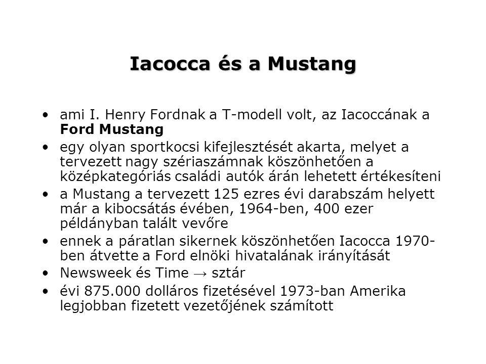 Iacocca és a Mustang ami I. Henry Fordnak a T-modell volt, az Iacoccának a Ford Mustang.