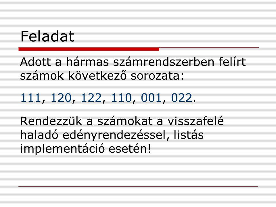 Feladat Adott a hármas számrendszerben felírt számok következő sorozata: 111, 120, 122, 110, 001, 022.