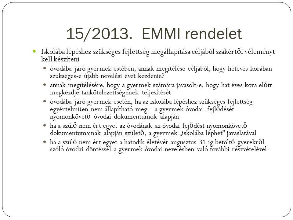 15/2013. EMMI rendelet Iskolába lépéshez szükséges fejlettség megállapítása céljából szakértői véleményt kell készíteni.