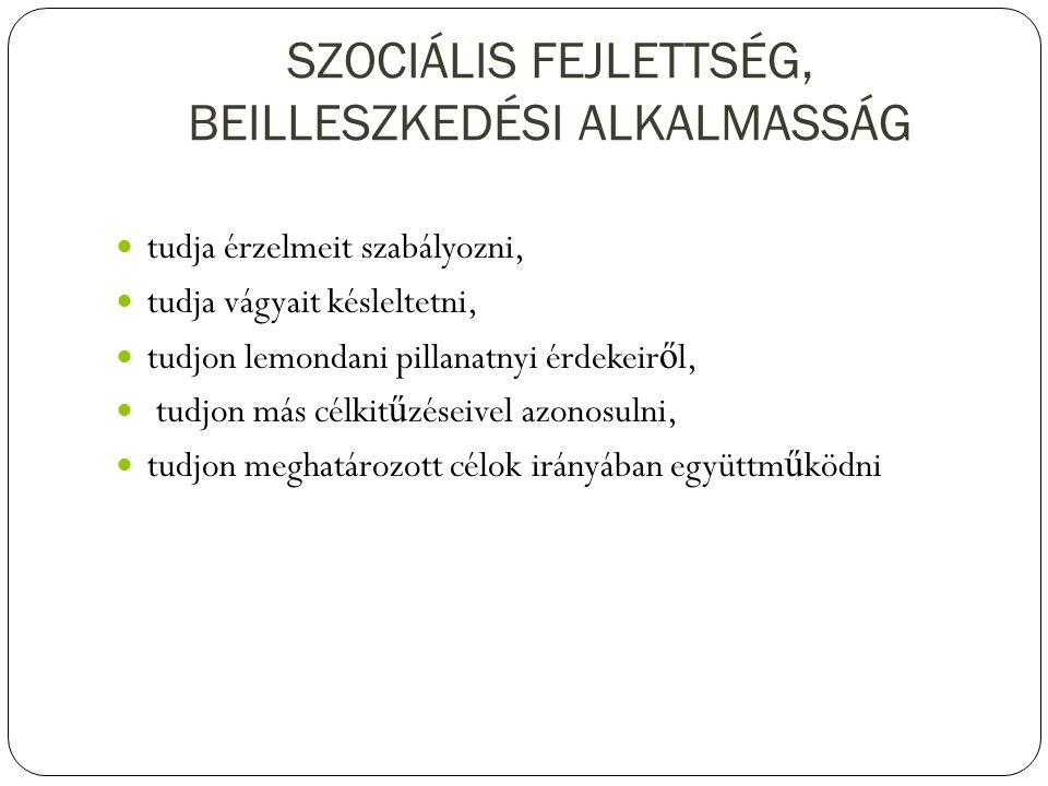 SZOCIÁLIS FEJLETTSÉG, BEILLESZKEDÉSI ALKALMASSÁG