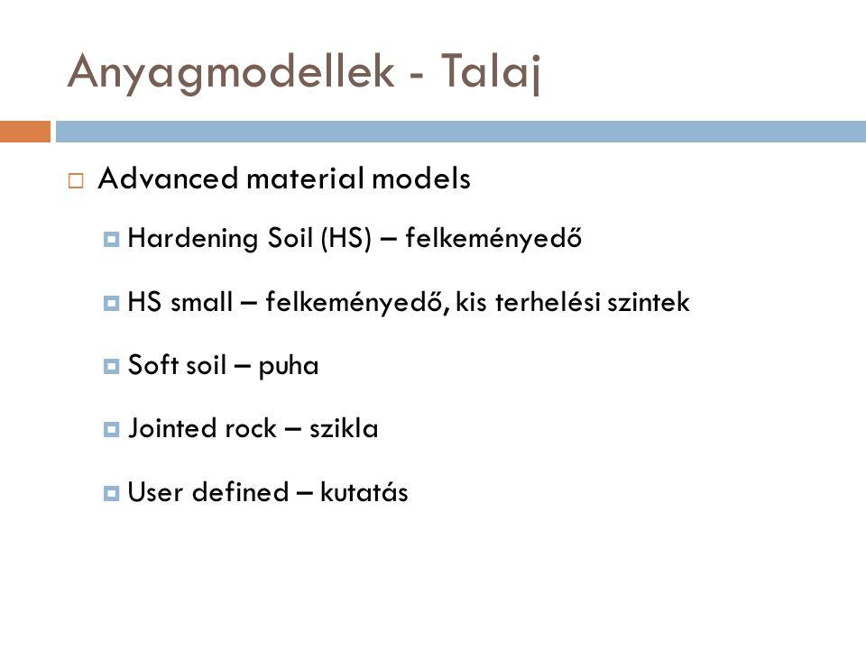 Anyagmodellek - Talaj Advanced material models