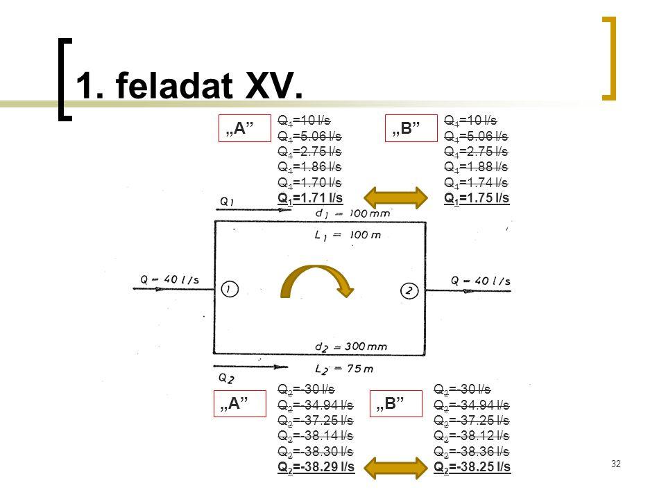 "1. feladat XV. ""A ""B ""A ""B Q1=10 l/s Q1=5.06 l/s Q1=2.75 l/s"