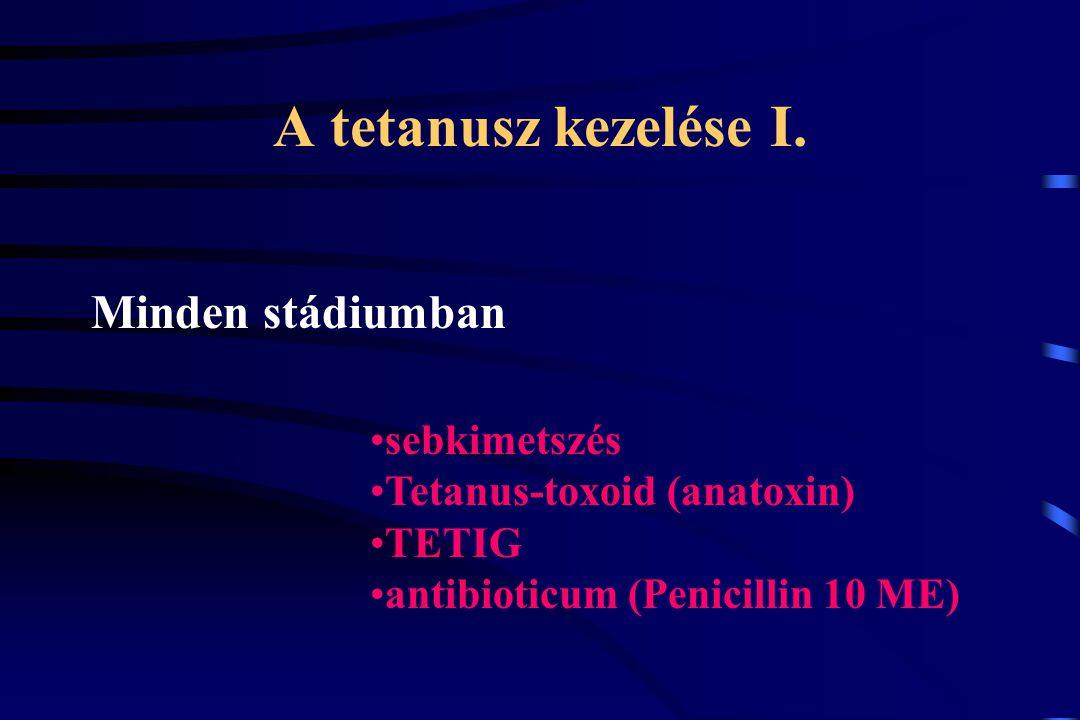 A tetanusz kezelése I. Minden stádiumban sebkimetszés