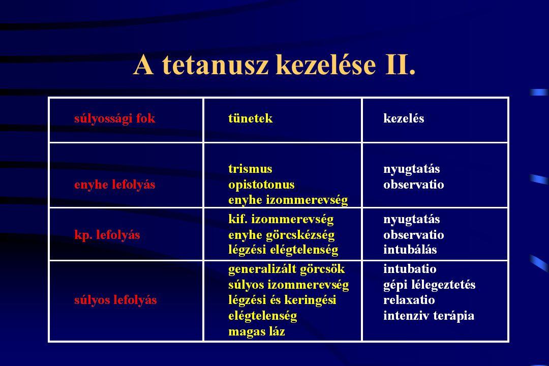 A tetanusz kezelése II.
