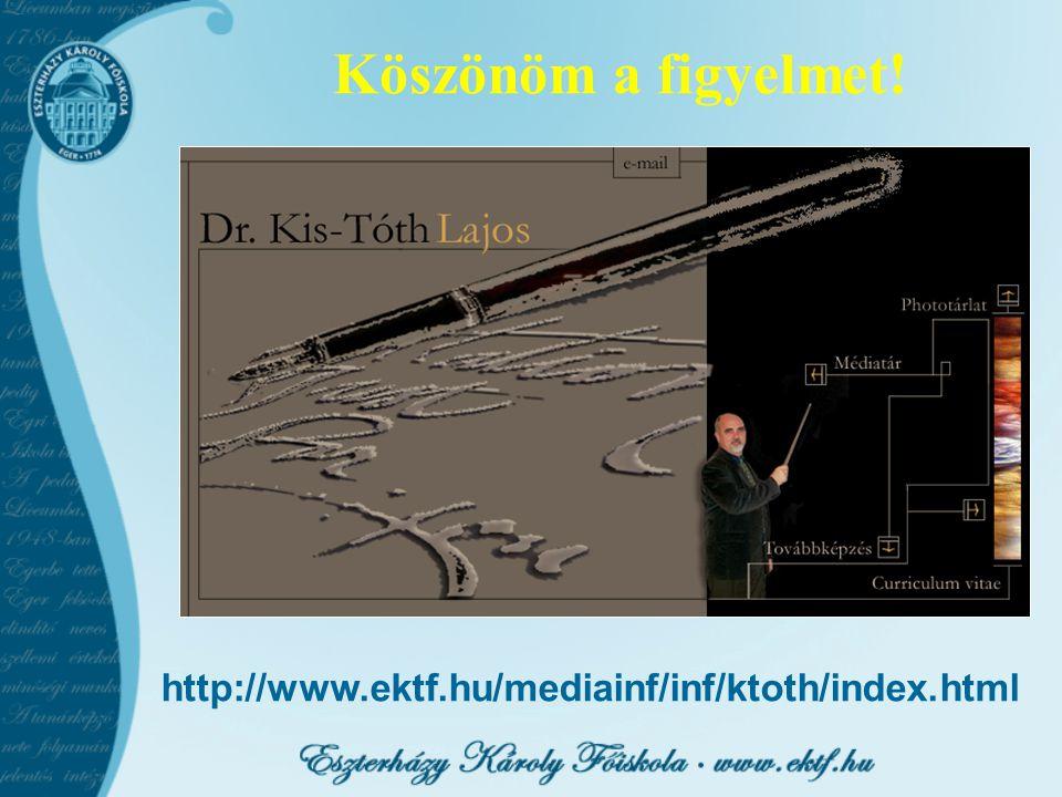 Köszönöm a figyelmet! http://www.ektf.hu/mediainf/inf/ktoth/index.html