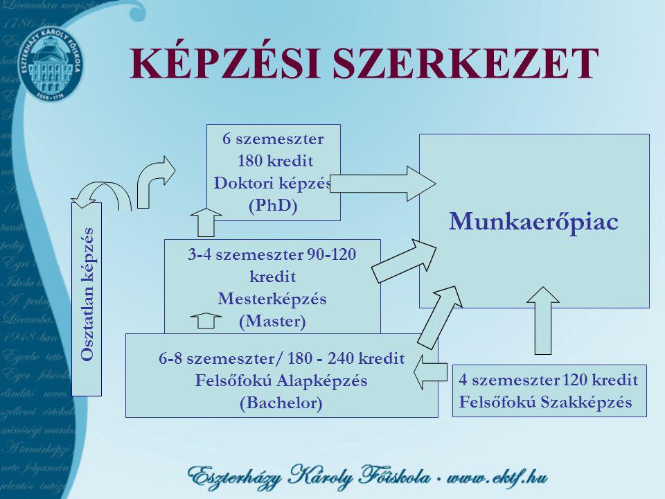 KÉPZÉSI SZERKEZET Munkaerőpiac 6 szemeszter 180 kredit Doktori képzés