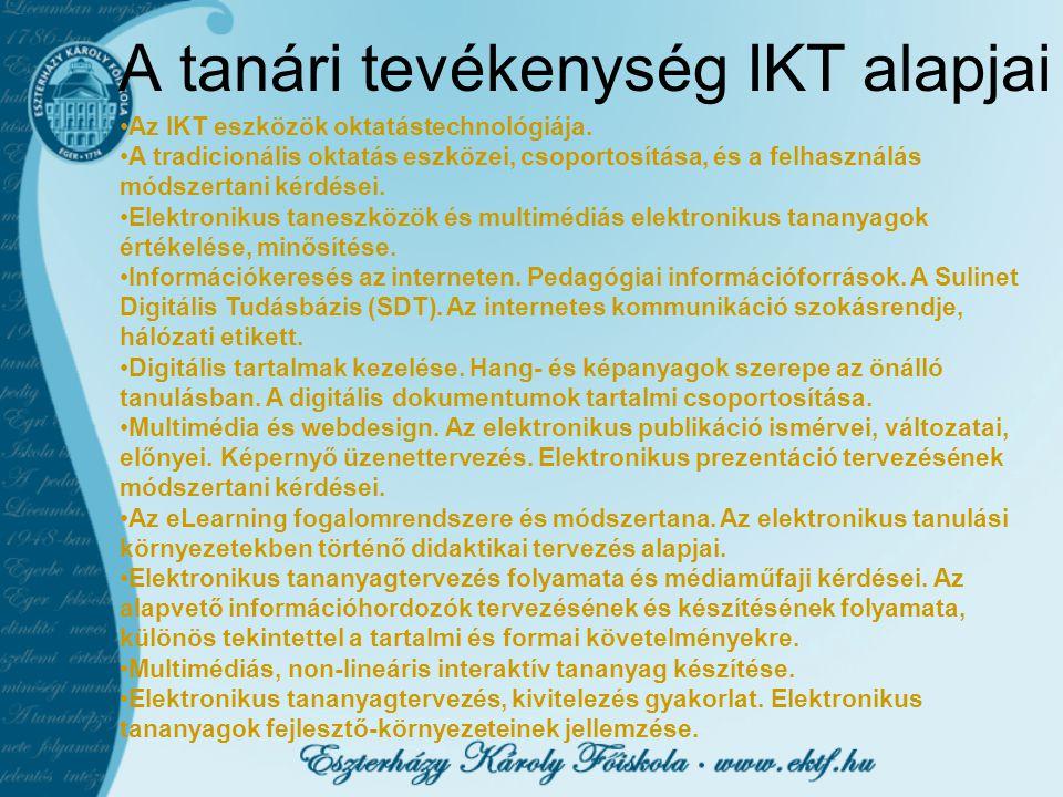 A tanári tevékenység IKT alapjai