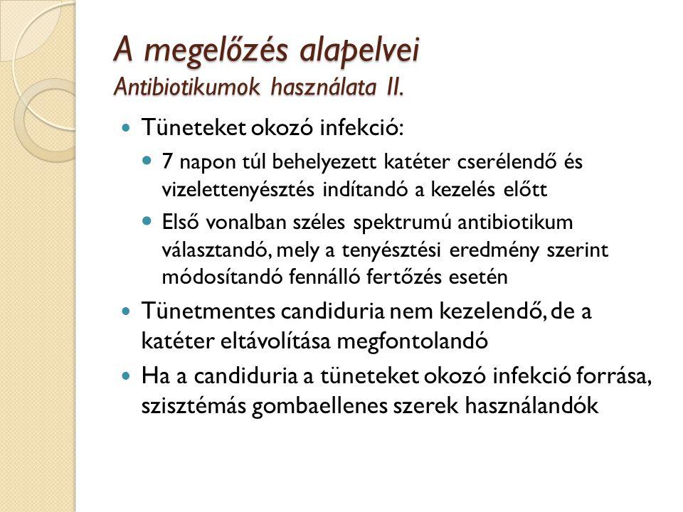 A megelőzés alapelvei Antibiotikumok használata II.