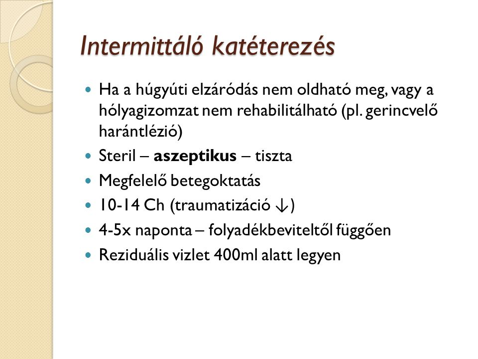 Intermittáló katéterezés