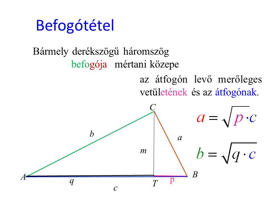 Befogótétel Bármely derékszögű háromszög befogója mértani közepe