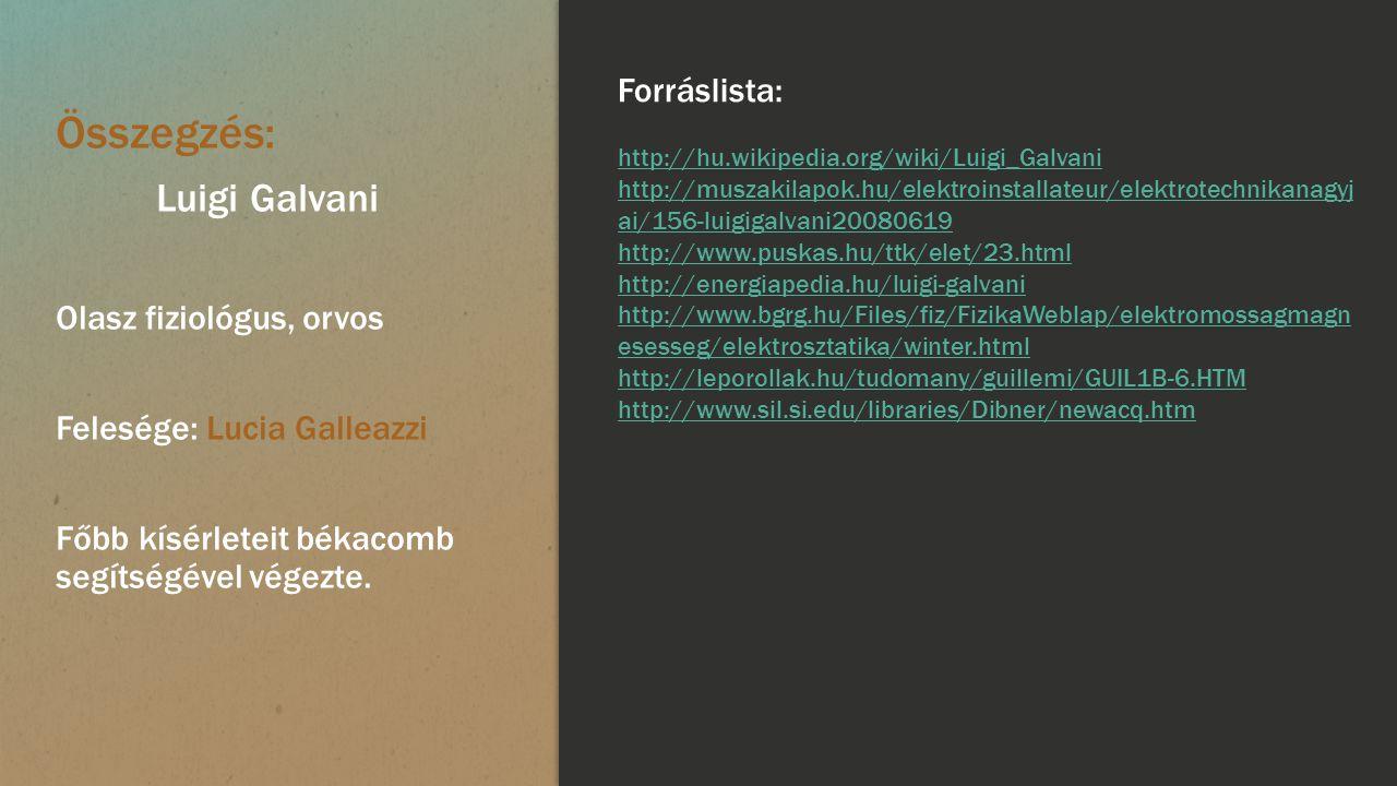 Összegzés: Luigi Galvani Forráslista: Olasz fiziológus, orvos