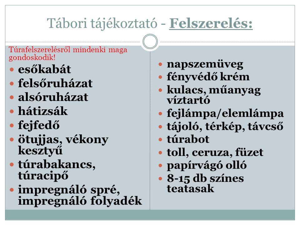 Tábori tájékoztató - Felszerelés: