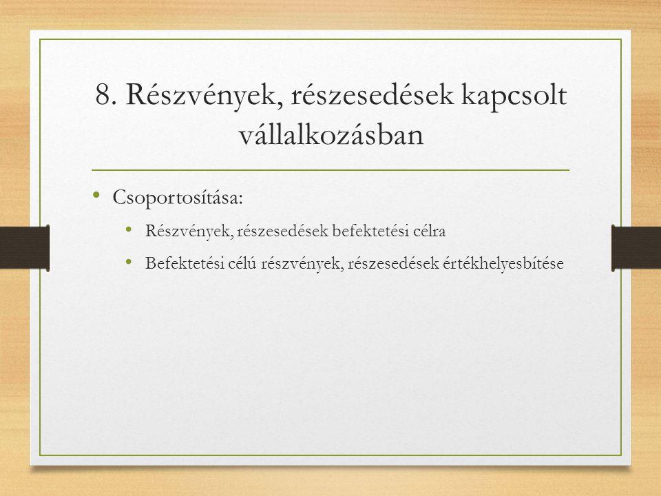 8. Részvények, részesedések kapcsolt vállalkozásban