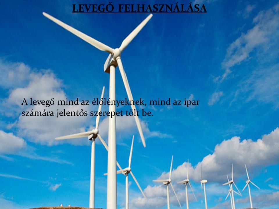LEVEGŐ FELHASZNÁLÁSA A levegő mind az élőlényeknek, mind az ipar számára jelentős szerepet tölt be.