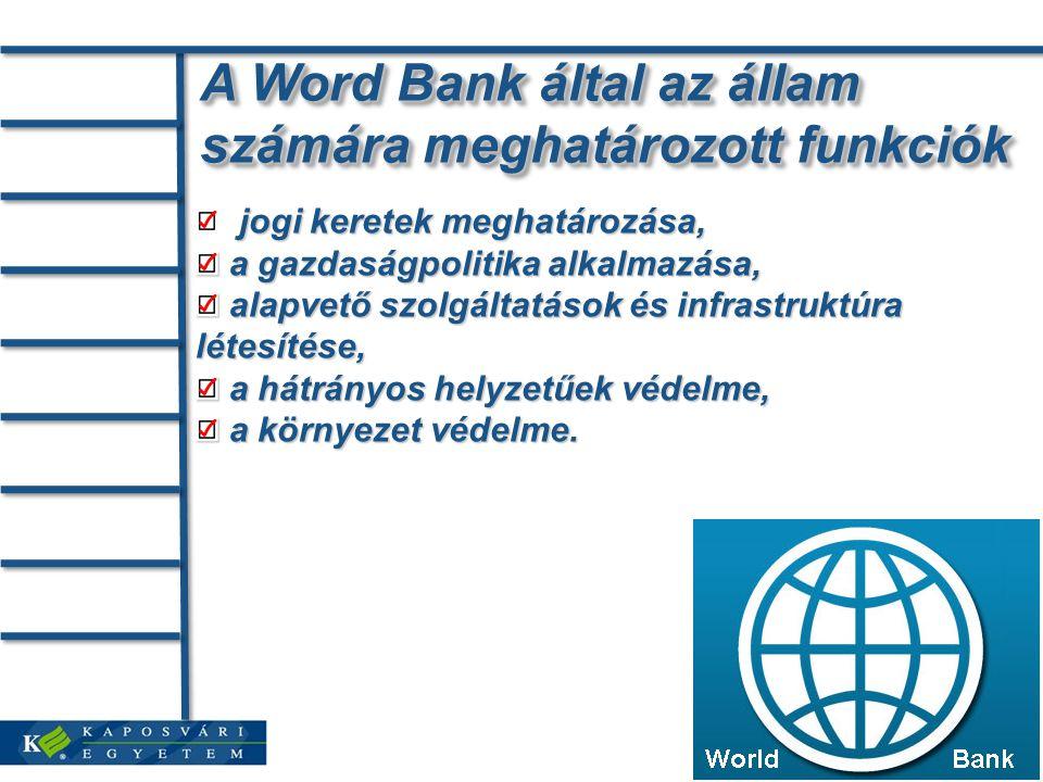 A Word Bank által az állam számára meghatározott funkciók