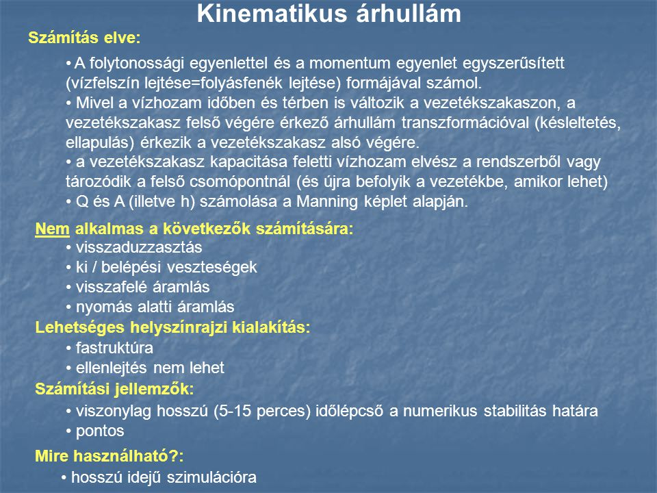 Kinematikus árhullám Számítás elve: