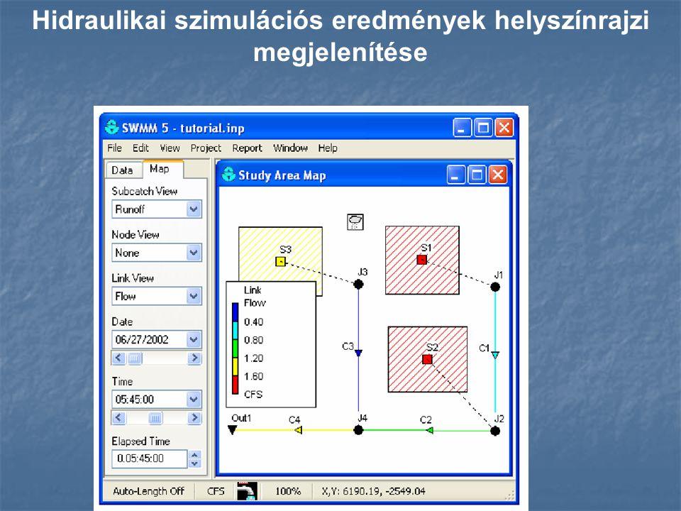 Hidraulikai szimulációs eredmények helyszínrajzi megjelenítése