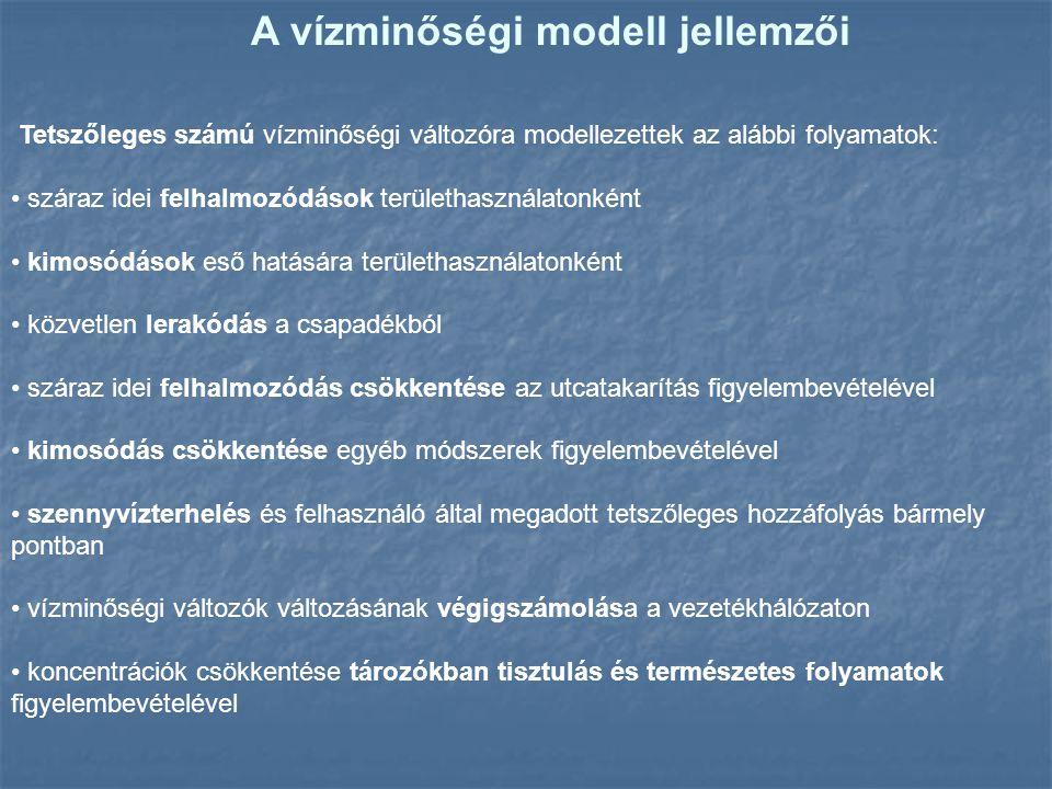 A vízminőségi modell jellemzői