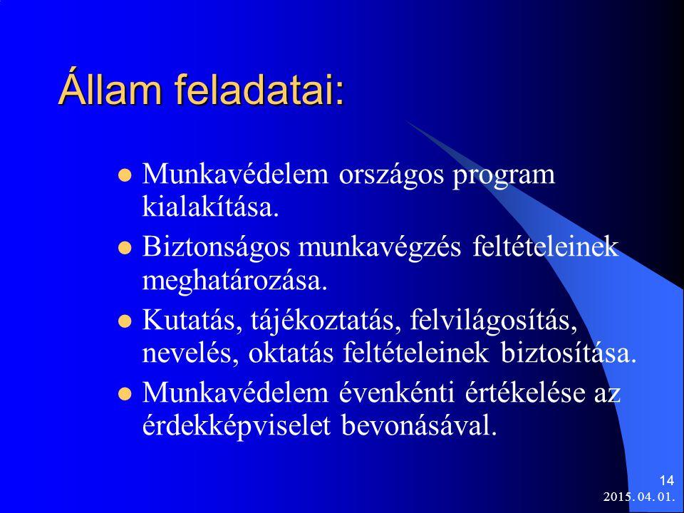 Állam feladatai: Munkavédelem országos program kialakítása.