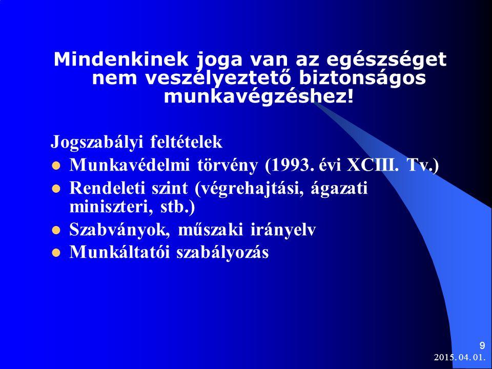 Jogszabályi feltételek Munkavédelmi törvény (1993. évi XCIII. Tv.)