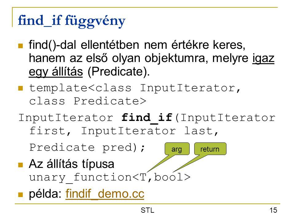 find_if függvény find()-dal ellentétben nem értékre keres, hanem az első olyan objektumra, melyre igaz egy állítás (Predicate).