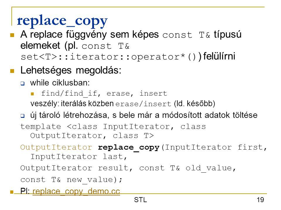 replace_copy A replace függvény sem képes const T& típusú elemeket (pl. const T& set<T>::iterator::operator*()) felülírni.