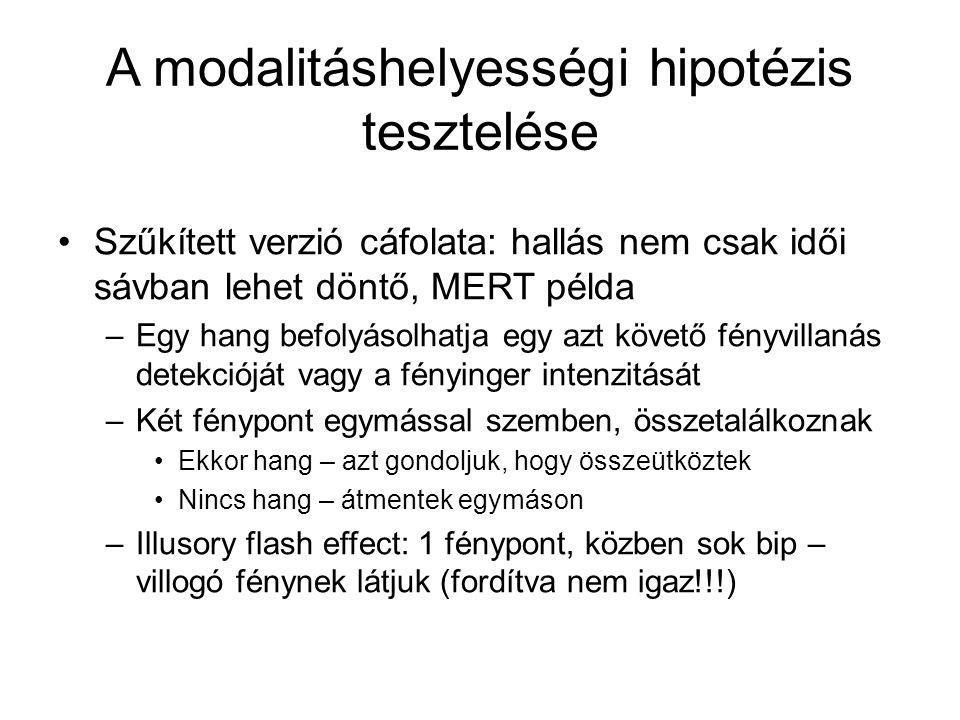 A modalitáshelyességi hipotézis tesztelése