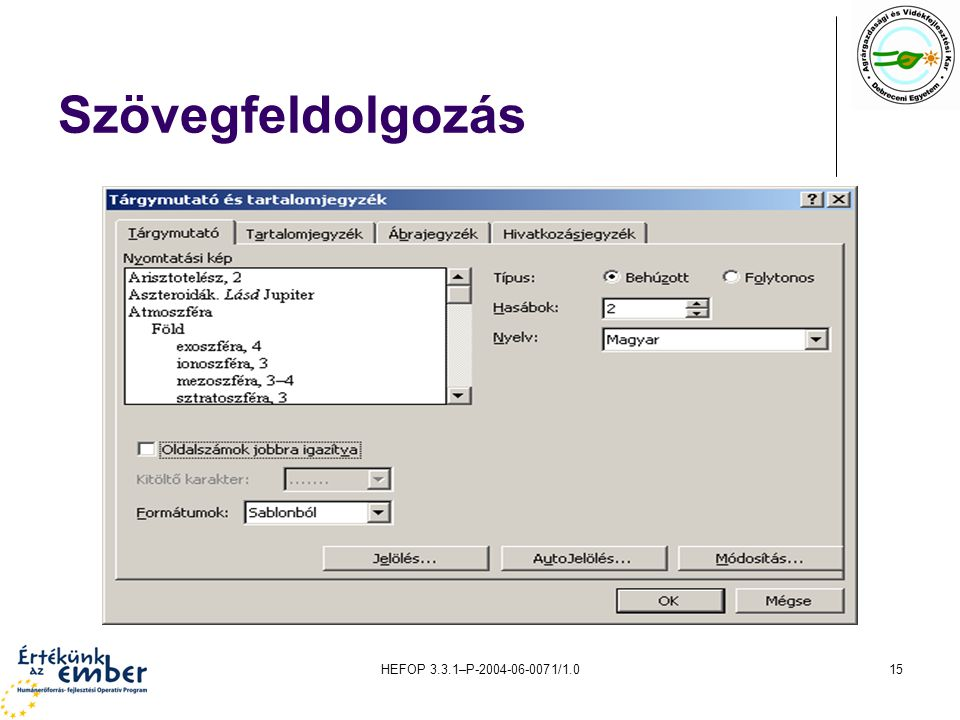 Szövegfeldolgozás HEFOP 3.3.1–P-2004-06-0071/1.0