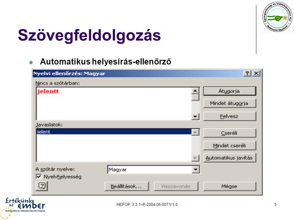 Szövegfeldolgozás Automatikus helyesírás-ellenőrző