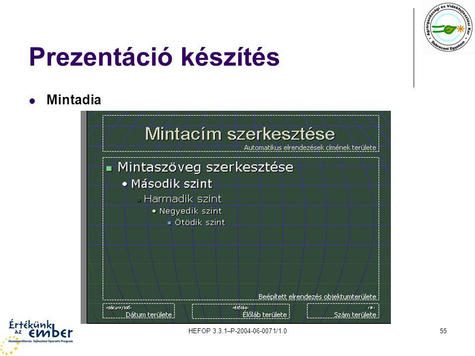 Prezentáció készítés Mintadia HEFOP 3.3.1–P-2004-06-0071/1.0