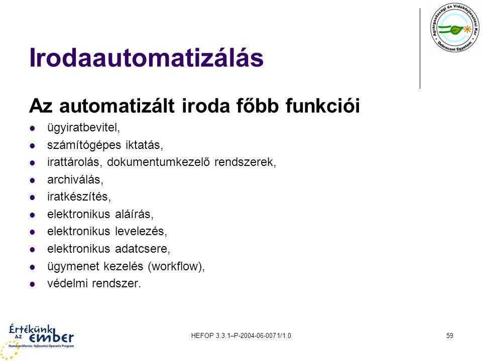 Irodaautomatizálás Az automatizált iroda főbb funkciói ügyiratbevitel,