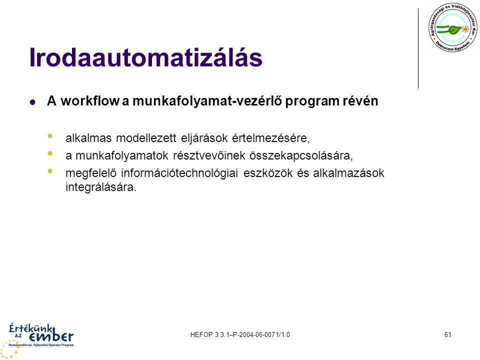 Irodaautomatizálás A workflow a munkafolyamat-vezérlő program révén