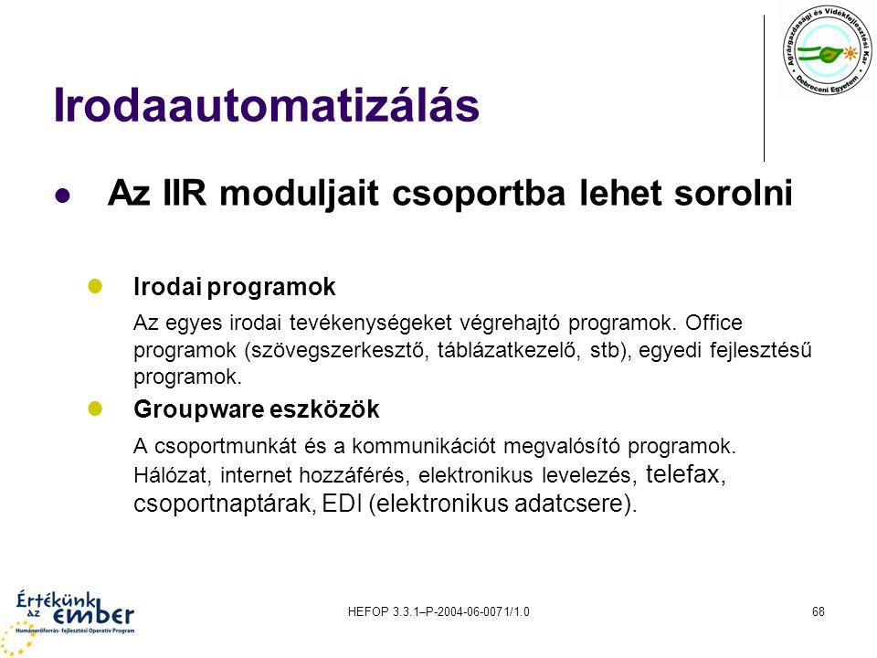 Irodaautomatizálás Az IIR moduljait csoportba lehet sorolni