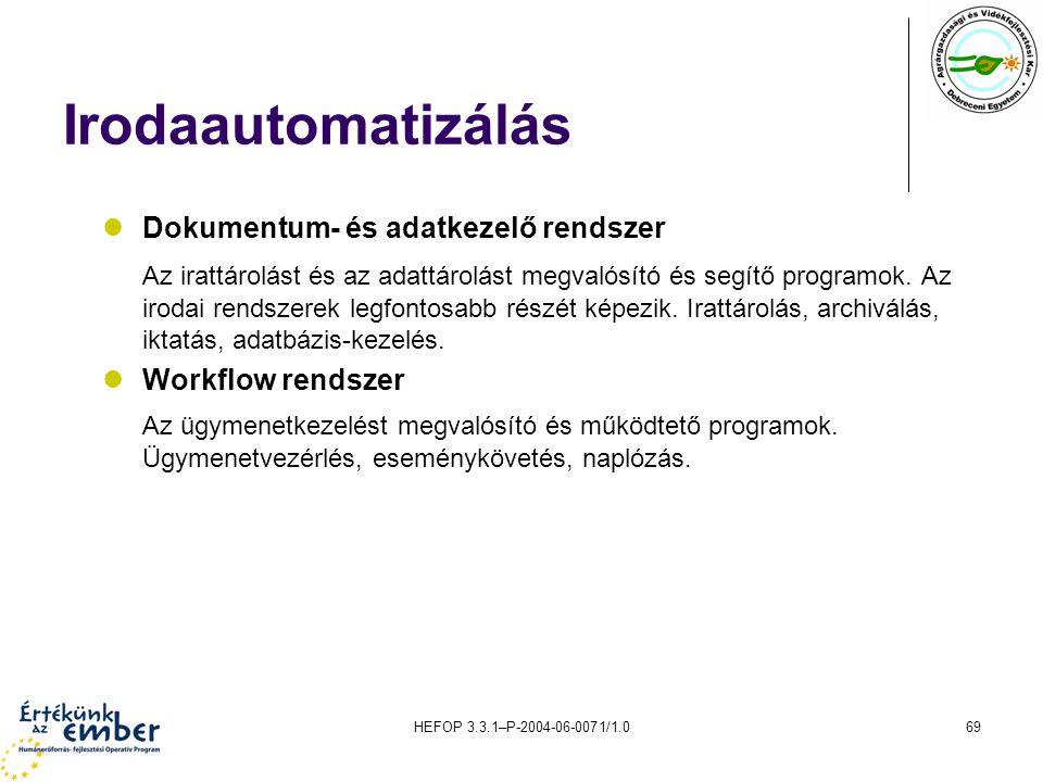 Irodaautomatizálás Dokumentum- és adatkezelő rendszer.
