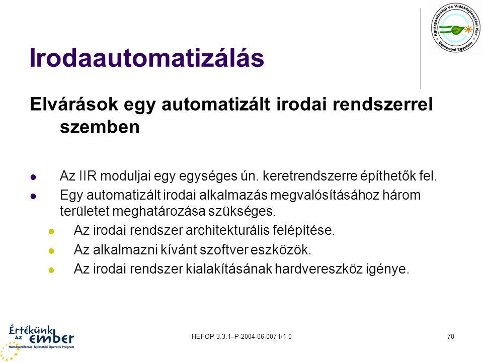 Irodaautomatizálás Elvárások egy automatizált irodai rendszerrel szemben. Az IIR moduljai egy egységes ún. keretrendszerre építhetők fel.