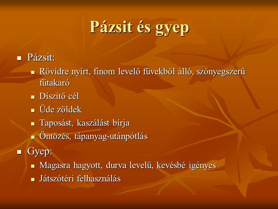 Pázsit és gyep Pázsit: Gyep: