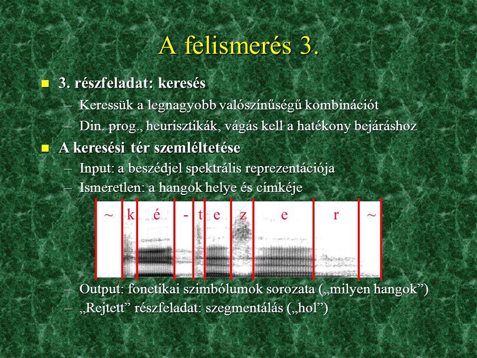 A felismerés 3. 3. részfeladat: keresés A keresési tér szemléltetése ~