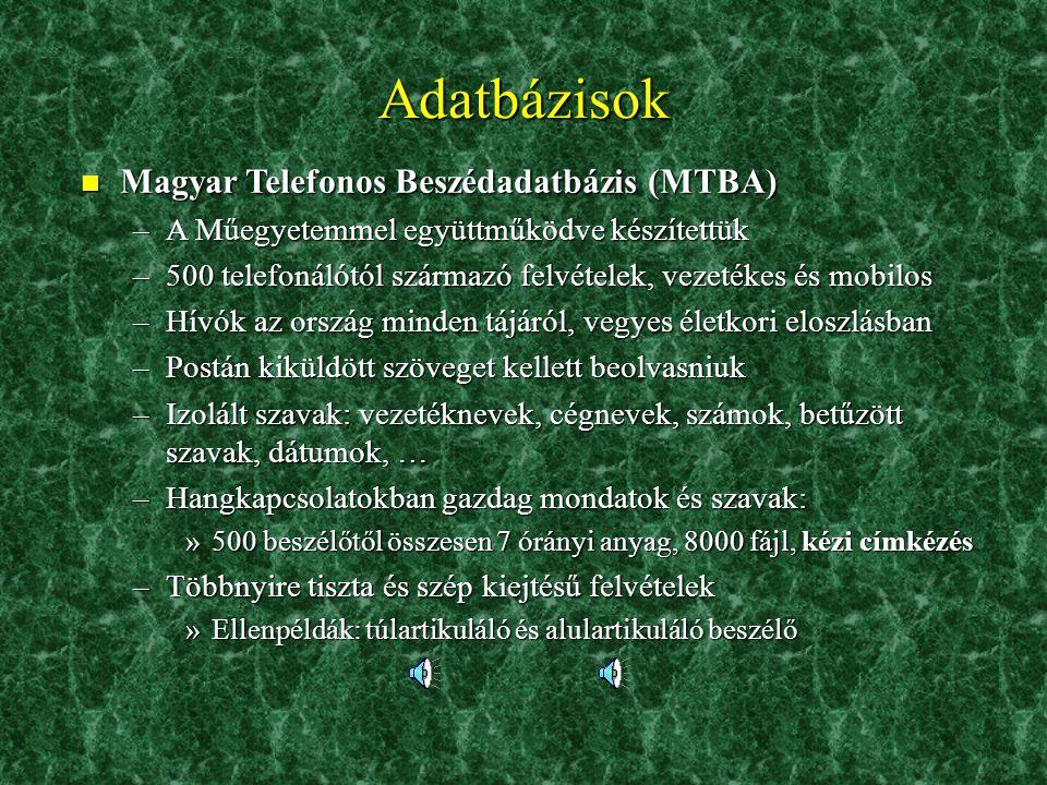 Adatbázisok Magyar Telefonos Beszédadatbázis (MTBA)