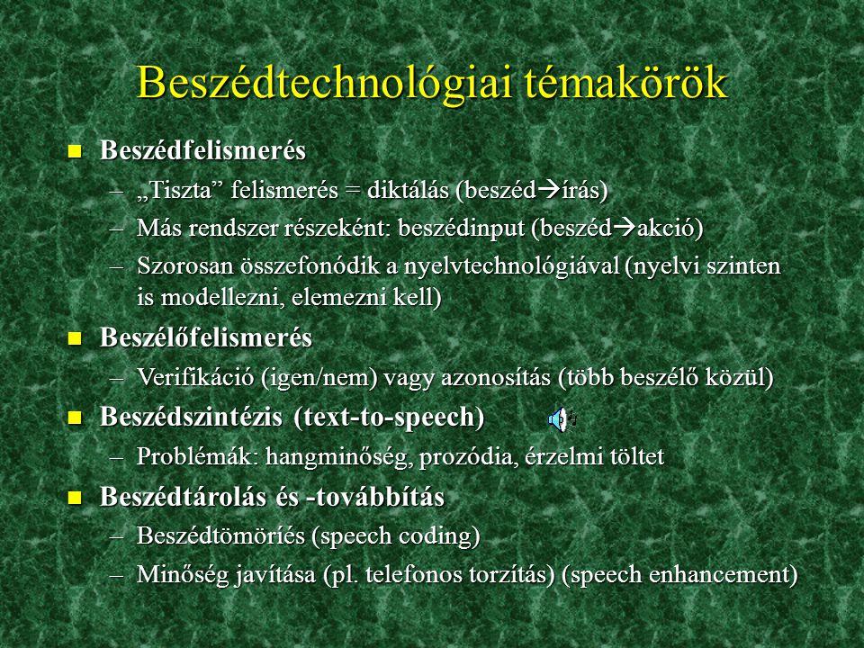Beszédtechnológiai témakörök
