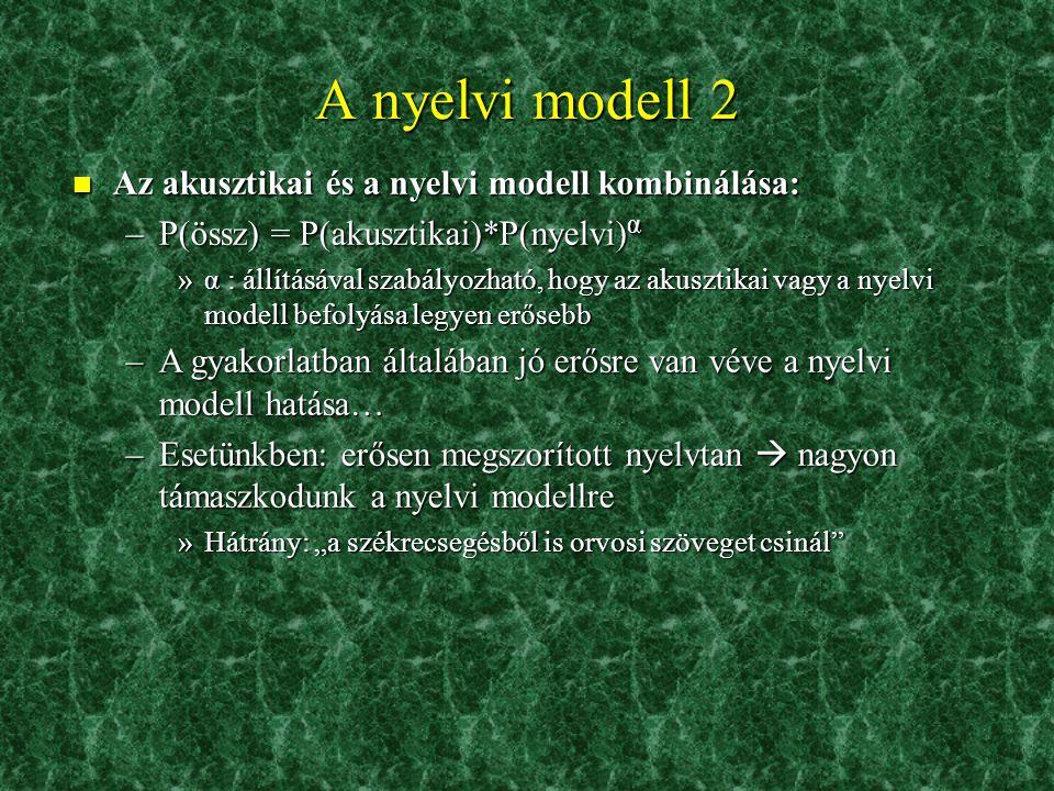 A nyelvi modell 2 Az akusztikai és a nyelvi modell kombinálása: